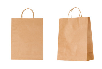 Recyclable paper bags isolated on white background