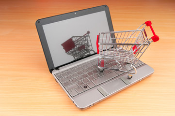 Shopping online with computer and cart