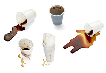 plastic cup of coffee dring beverage food office spilled messy © picsfive