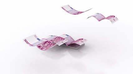 Flying Euro Banknote
