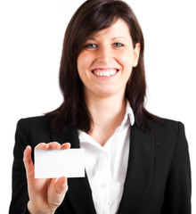 Beautiful businesswoman showing a blank greeting card