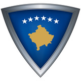 Steel shield with flag Kosovo poster