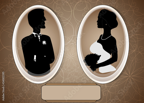 canvas print picture Beautiful Vintage Wedding Illustration