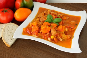 paprika,tomato,onions and bacon in vegetable ragout