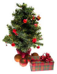 decorated Christmas fir tree with gifts