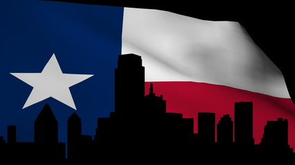 Dallas skyline with rippling Texan Flag animation