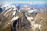 Glacier at Großglockner massif - aerial view, Austria