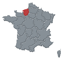 Map of France, Upper Normandy highlighted