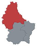 mapa lucembursko, diekirch zdůraznil