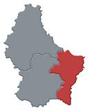 mapa lucembursko, grevenmacher zdůraznil