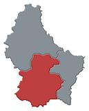 mapa lucemburku, lucembursko zdůraznil
