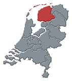 Map of Netherlands, Friesland highlighted