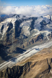 ledovec pasterze na großglockner masiv - letecký pohled, rakousko