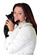 riant femme et chat