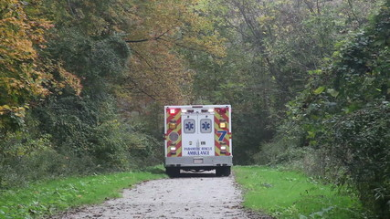 Ambulance on rescue mission in a remote place