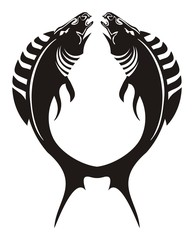 Fish logo. The fishes-horses forming a circle