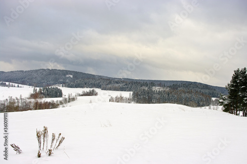 Winter scene with snowy clouds