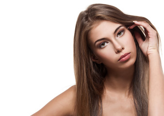 Beautiful woman with clean healthy skin isolated