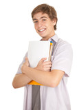 young male student with books,white background