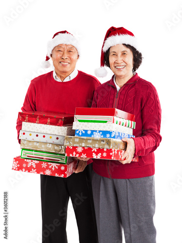 Senior Asian couple celebrating Christmas