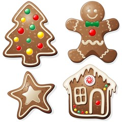 Natale Biscotti e Dolci-Gingerbread Cookies-Vector