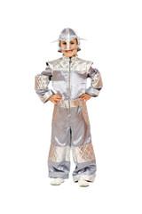 Playful boy in astronaut costume
