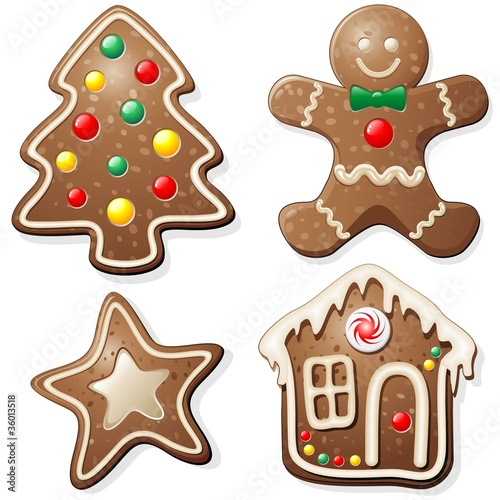 Fototapeta Natale Biscotti e Dolci-Gingerbread Cookies-Vector