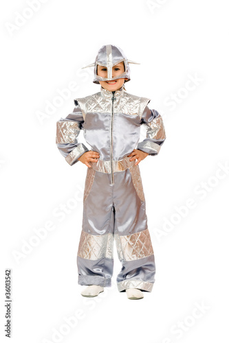 Playful boy in astronaut costume