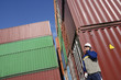 port worker and cargo containers