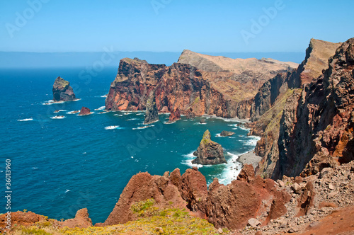 Sunny coast in the ocean, Island of Madeira