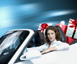 portrait of young woman, shopping,convertible car, gift box