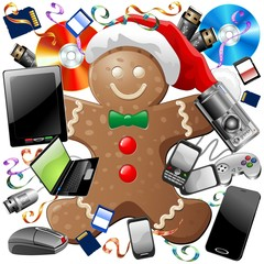Natale Tecnologico-Technological Gingerbread Santa Claus-Vector