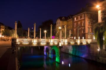 Shoemakers' bridge  and medieval houses in Ljubljana