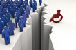 Kluft zwischen Rollstuhlfahrer und anderen