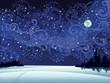 Night snow landscape