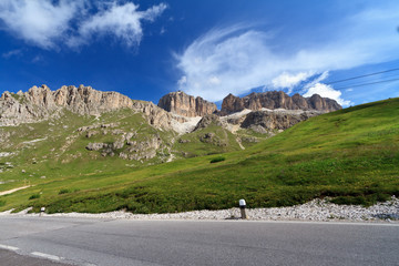 road in Italian Dolomites - Pordoi pass