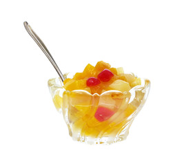 Fruit cocktail with spoon