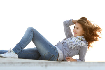 young attractive woman resting outdoors