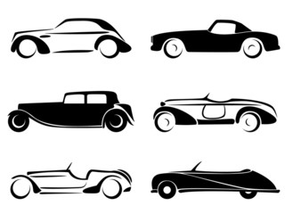 Old cars silhouettes set vector.