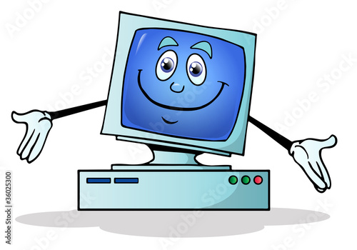 illustration of a happy  computer