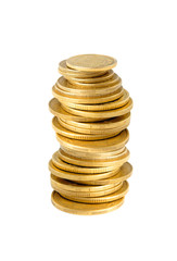 Many golden coins in column isolated on white background