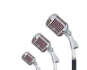 Set of Retro Microphone on white background