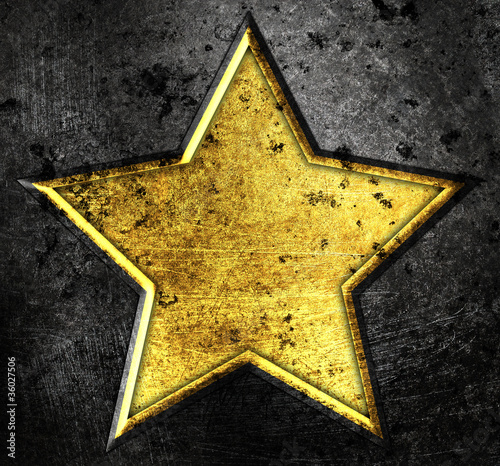 grunge star on a metal background