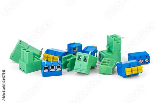 Leinwanddruck Bild Different electrical connector blocks