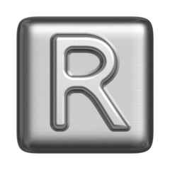 Metal alphabet in the form of a stamp. Capital letter R