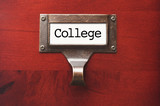 Lustrous Wooden Cabinet with College File Label poster