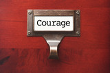 Lustrous Wooden Cabinet with Courage File Label poster