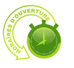 horaires d'ouverture sur chronomètre vert