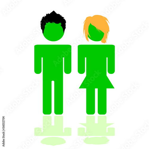 people illustration in green color with hair style