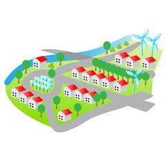 wohnviertel mit natürlicher stromgewinnung - plan